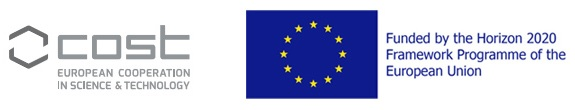 COST european cooperation in science and techonology logo. EU Funded by the Horizon 2020 logo.