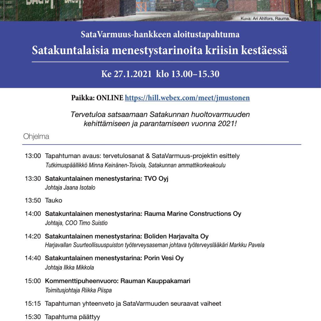 SataVarmuus-webinaarin ohjelma.